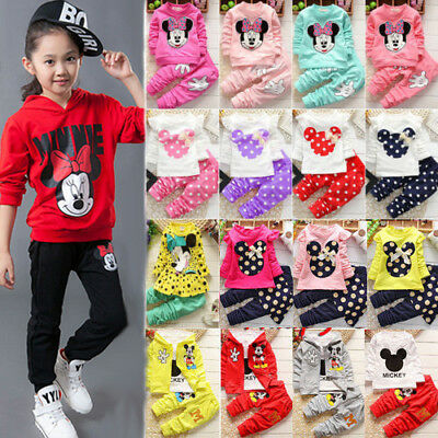Toddler Kids Baby Girl Minnie Mouse 2PCS Outfit Set Clothes Coat Pants Tracksuit