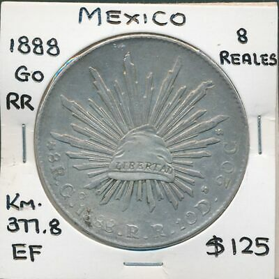 Mexico 1888 Go RR 8 Reales KM-377.8 Circulated in China EF Scarce