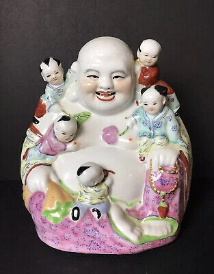 Vintage Chinese Porcelain Laughing Buddha Figure w/ 5 Children #15