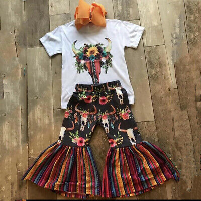 US Summer Toddler Baby Girl Clothes Flower Tops Shirt Pants Leggings Outfits Set