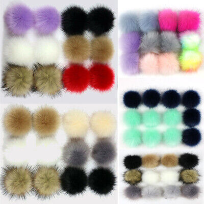 12Pcs 10cm PomPom Ball Faux Fox Fur Fluff Balls for Pom Pom Hat Accessories AU