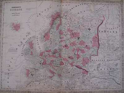 Hand Colored Map Johnson's Atlas Europe Russia Spain Iceland Britain France 1863
