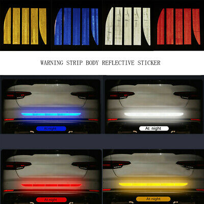 Car Reflective Warn Strip Tape Bumper Safety Stickers Decals Paster Accessories