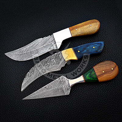 Hand Forged Damascus Steel Knives - Custom Made Knife Set