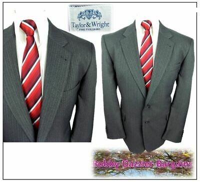 """Taylor & Wright  mens 2 piece suit Ch44""""S W42"""" L29"""" Grey Pinstripe Washable"""