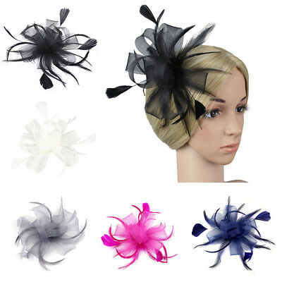 Flower Feather Fascinator Loop Beak Hair Clip Brooch Pin Ladies