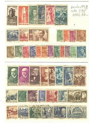 Timbres France Annee Complete 1938 N° 377 A 418 Obliteres