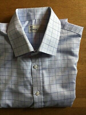 Mens L/S Shirt. M&S Ultimate Tailoring. 17.5 Inch 44-45Cm. Pale Blue/ Blue Check