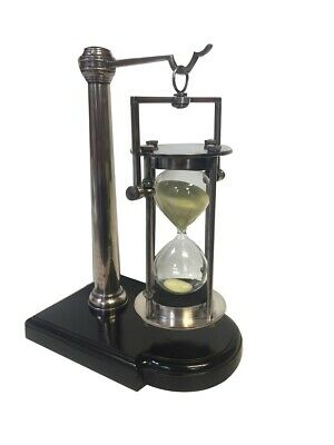 Classy Chromed Tripod Bell Clock, Antique 30 Minutes Hourglass, Hourglass