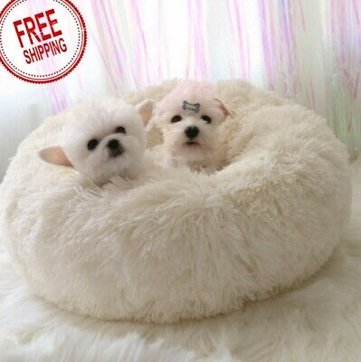 Comfy Calming Dog Cat Bed Round Super Soft Plush Pet Bed Marshmallow Cat Bed US