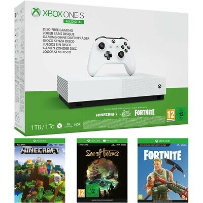 Xbox One S 1TB with Fortnite, Minecraft, Sea Of Thieves & Xbox Gold BRAND NEW