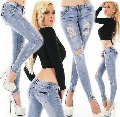 Damen Ripped Jeans Hüfthose Destroyed Stretch Used Röhre Röhrenjeans Hose Risse