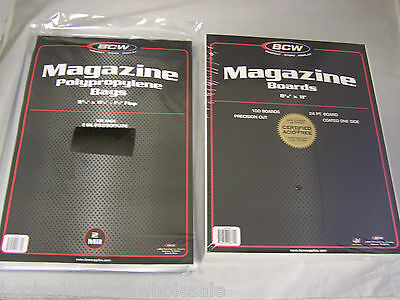 "100 each BCW 8 3/4"" x 11 1/8"" Magazine Storage Bags & Backer Boards"