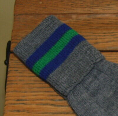 ADULT Sz 7-8 Vintage 80% Wool Grey with Blue/Green/Blue Trim School Knee Socks
