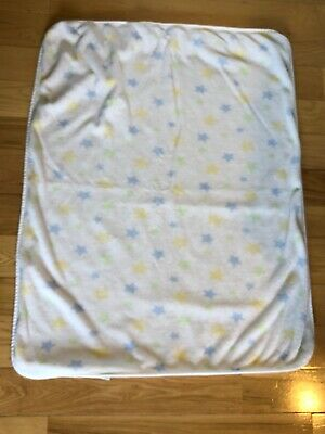 Carters Thick Plush Baby Blanket White w/ Blue Green Yellow Stars  Lovey