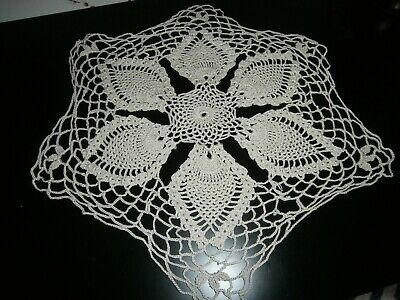 """Vintage Beige Cotton Hand Worked Crochet Lace Round Table Mat/Doily 15"""" Dia."""
