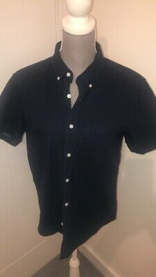 Mens Red Herring Shirt Navy White Short Sleeves Fitted Top Size Medium