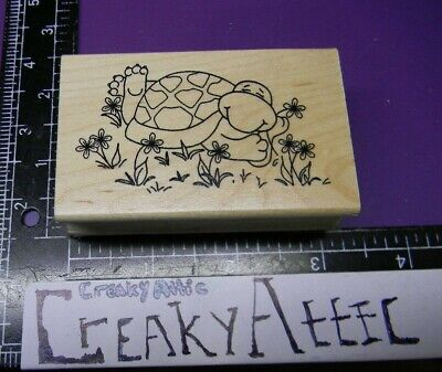 Turtle Laying In Flowers Animate Rubber Stamp Great Impressions E526 Creakyattic