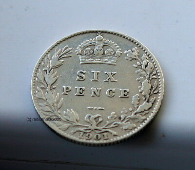 1901 Queen Victoria Silver Sixpence 6d British English 92.5% (Sterling) silver