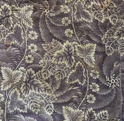 c1840s  BEAUTIFUL 19th CENTURY QUILTED FLORAL TOILE DE JOUY, PROJECTS REF 413