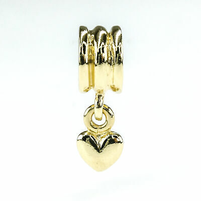 Authentic Pandora Hanging Heart Charm in 14K Yellow Gold 750198