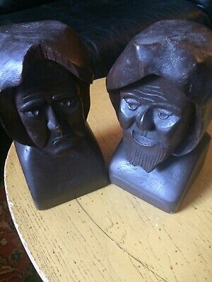 Vintage Old Man & Old Woman Wood Hand Carved Bookends Tragedy & Comedy