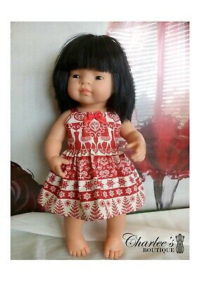 Miniland Doll Christmas dress Red (MADE IN pERTH)