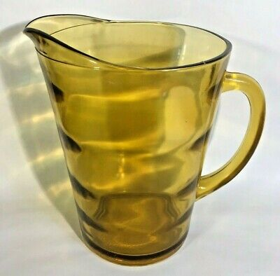 Vintage Anchor Hocking Amber Glass Pitcher Honey Gold Horizontal Layers Texture