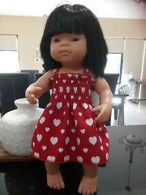 Miniland doll red dress/white heart (Made In Perth)