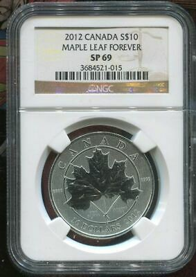 2012 Canada $10 Silver - Maple Leaf Forever - Ngc Sp69