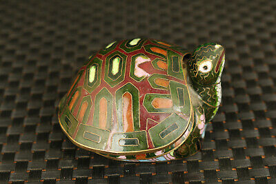 chinese old cloisonne hand painting tortoise  box unique statue decoration