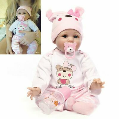 """Realistic 22"""" 16"""" Soft Silicone Reborn Dolls Lovely Baby Girl Toddler Kids Gifts"""