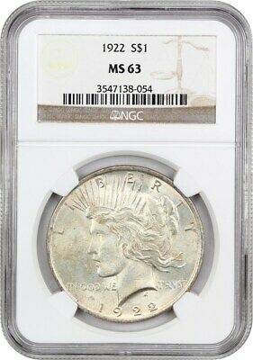 1922 $1 NGC MS63 - Peace Silver Dollar