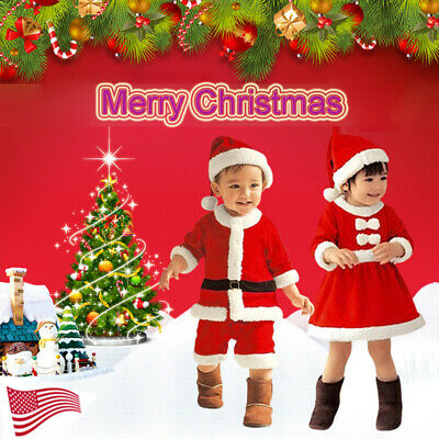Girl's Boy's Christmas Costume Santa Claus Fancy Dress Xmas Outfit Kids Toddlers