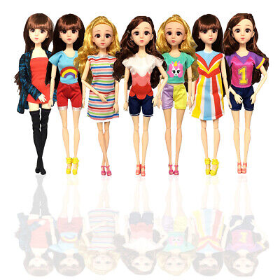 7Pcs Fashion Clothes Outfit Party  Casual Wear Gown For Barbie Doll Kid Toy Gift