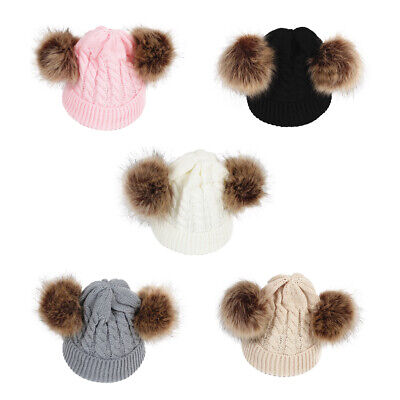 Cute Baby Girls Boys Knit Winter Warm Wool Pom Bobble Hat Beanie Cap Double Ball