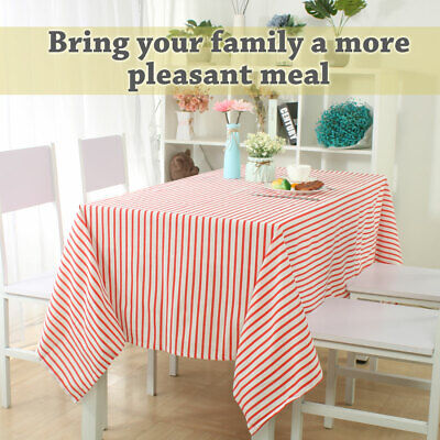 """Cotton Blends Rectangle Tablecloth 55""""x63"""" Water/Oil Stain Resistant, Red Strips"""