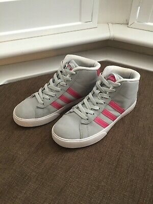 Adidas Lace Up Women Ladies Girls Leather Trainers Grey Pink 5UK/5.5US/38 EU