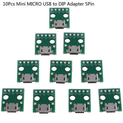 10Pcs MICRO USB to DIP Adapter 5Pin Female Connector PCB Converter Board as