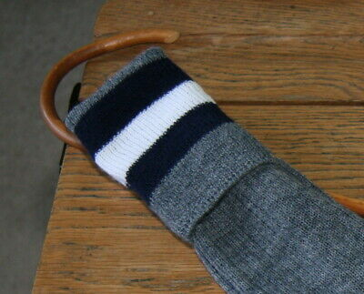 ADULT Sz 7-8 Vintage 80% Wool Grey with Blue/White/Blue Trim School Knee Socks
