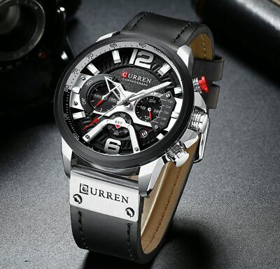 CURREN Casual Sport Watches for Men Blue Top Brand Luxury Military Leather