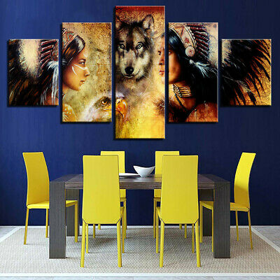 Indian Man Wolf Canvas Oil Painting Print Picture Home Wall Art Decor    IE !