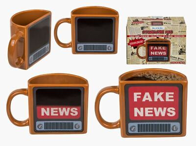 Fake News Television Novelty Heat Changing Magic Coffee Mug Cup New In Gift Box
