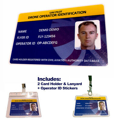 Drone Flyer/Operator Photo ID Card + 15 x QR Operator Drone Stickers + 2 Holders