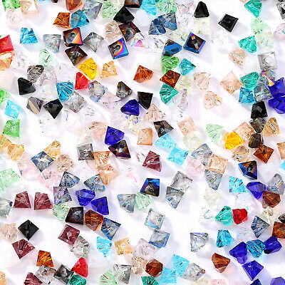 200pcs 6*4mm Triangle Faceted Crystal Glass Beads Loose Spacer Jewelry Making