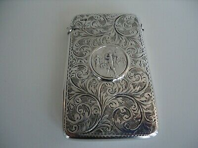 Stunning & Rare! Antique Silver Golfers Card Case. CHESTER 1902.