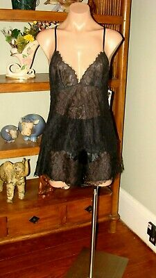 "Women's Vintage Josie by Natori Lace Camisole and Panties - Bust to 34"" - Black"