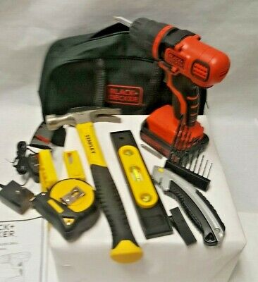 Black & Decker Cordless Drill Ldx 120 W/ Battery & Charger With Stanley Hammer