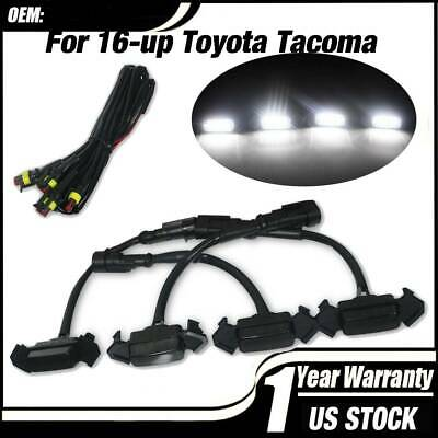 Pack of 4 Smoked Front Grille LED White Light for 2016-2019 Tacoma w/ Pro Grille