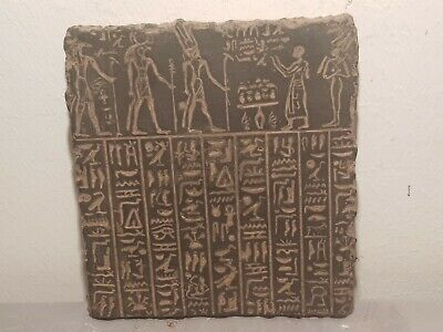Rare Antique Ancient Egyptian Stela King Amenhotep 5 Gods Anbis Isis1440–1390BC